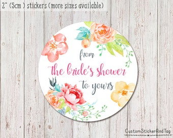 15 bridal shower stickers, from the brides shower to yours, favor sticker, custom gift tag, floral sticker, printable sticker (S-06)