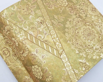 Vintage Japanese Silk Fukuro Obi belt in brilliant gold metallic threads