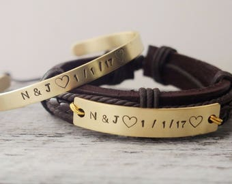 Personalized couple name bracelet custom couples bracelet Anniversary Gift for boyfriend hand stamped bracelet custom birthday gift for him