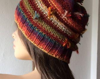 Beanie Hat, Beanie Women, Boho Hat, Reversible Hat, Knit Hat, Colorful Hat