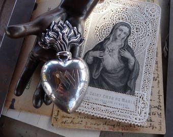 Antique Victorian French Heart of Mary,  An Ex Voto for the Passionate, offered by RusticGypsyCreations