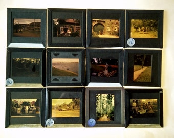Vintage Glass Photographic Slides, people group colour images for crafts, Family Photos, Happy Snaps Photo, Glass Vintage slides (30)