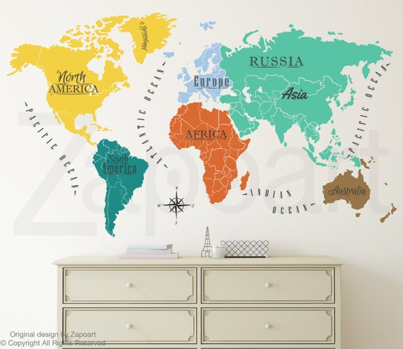 World map w continents ocean names wall decal gumiabroncs Images