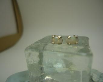 Petite Oval Opal Earrings in Sterling Silver   #875