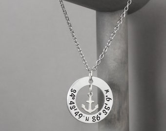 Hand Stamped Coordinate Necklace