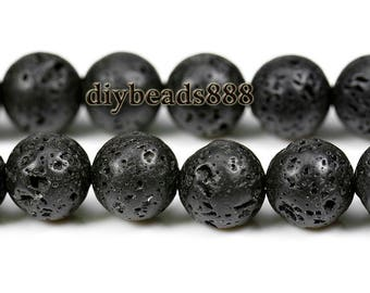 15 inch strand of Black Lava round beads 14mm