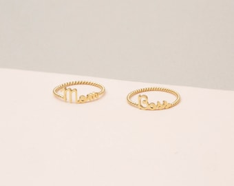 Custom Name Ring with Twisted Band - Personalized Stackable Name Ring - Minimal Namae Jewelry - Custom Word Ring - Stacking Name #PR04W F63