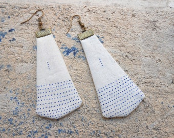 Long textile earrings light - unique