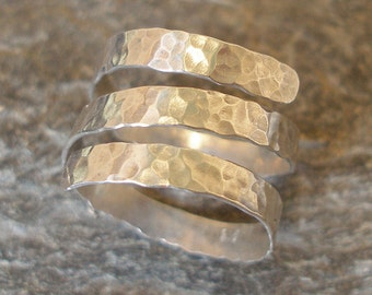 3-strand Sterling Silver Thick Spiral Hammered Ring, or in 9ct Gold. Wrap Around Ring. Made in any size. A perfect ring gift, unisex.