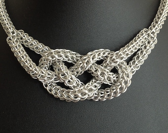 Chainmaille Statement Necklace - Knotted Chainmaille Necklace - Sailors Knot Necklace