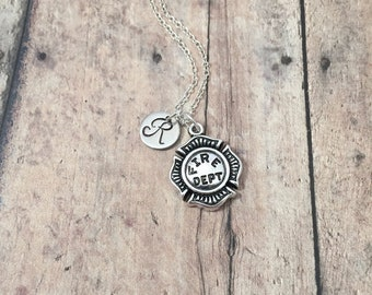 Firefighter badge initial necklace - firefighter badge jewelry, fireman jewelry, firefighter necklace, maltese cross jewelry, fireman badge