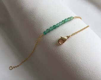 Green Agate Beaded Bar Bracelet, Dainty Agate Bracelet, Gold Agate Bracelet, Gemstone Bar Bracelet, Bridesmaid Gift, Birthday gift,christmas
