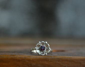 Tiny flower ring Tiny Engagement Ring Small promise ring Dainty engagement Cute ring Nature ring Promise ring for her Silver promise ring