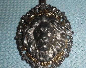 "Vintage Lion Pendant 3"" Medallion & 24"" Chain Necklace Handmade"