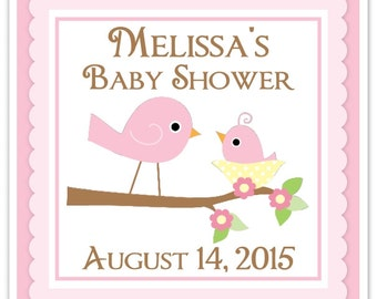 Baby Bird Baby Shower Labels, Baby Shower Stickers, Mother Baby Stickers, Pink Bird Square Baby Shower labels,  Custom Labels