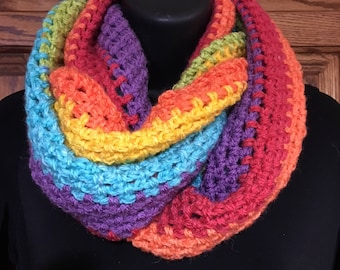 Rainbow 54 inch Infinity Scarf - Acrylic wool blend - made by me