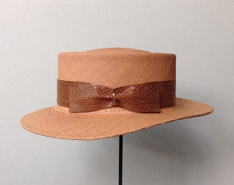 Hand Blocked Panama Straw Gambler Hat with Telescoped Crown, Wide Brim  and Faux Snakeskin Hat Band
