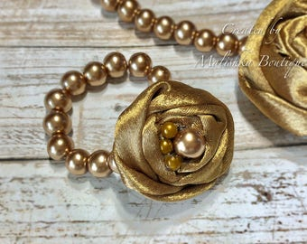 Bronze Pearl Bracelet, Baby Girl, Fabric Flower Rosette, Vintage Gold, First Birthday Outfit Photo Prop, Newborn Jewelry, Shower Gift First