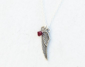 Wing Feathers Necklace- Birthstone Colors- 925 Sterling Silver or Silver Tone Chain- Charm Jewelry Crystal- Bird Feathers