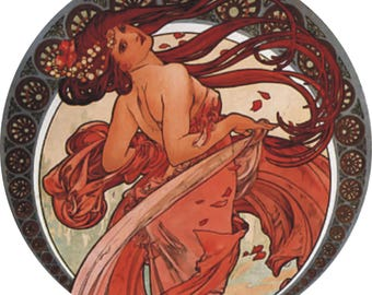 "Lovely Art Nouveau Alphonse Mucha Dance Lady design 23cm or 9"" round placemat table mat server centrepiece"