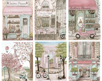 Paris Decor, Vintage French Blush Pink Paris Bedroom Decor, Set Of 6 Personalized Prints for Girl Nursery Decor, Paris Nursery Art 6 Sizes