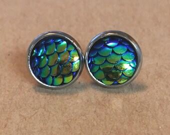 10mm Green/Blue Mermaid Scale Earrings, Dragon Scale Earrings