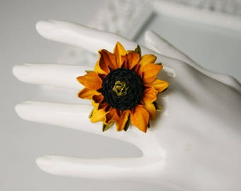 Yellow leather sunflower flower ring