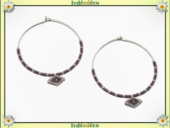 Round 925 sterling silver hoop earrings beads Japanese iridescent white purple lilac diameter 40mm gift birthday mother's day