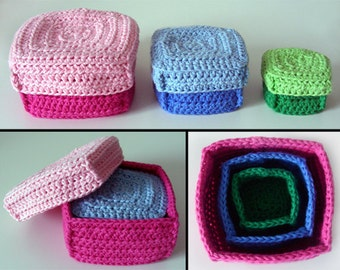 3 Box Set - PDF Crochet Pattern - Instant Download