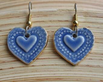 Blue Heart Dangle Porcelain Earrings