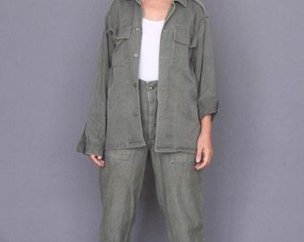 Women shirt Vintage military jacket Olive green shirt Work jacket Vintage Military shirt Button up shirt 80s top