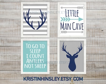 Baby Boy Nursery Decor, Deer Nursery Wall Art, Hunting Nursery, Woodland  Nursery,