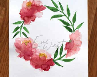 Original - Watercolor painting, Peonies
