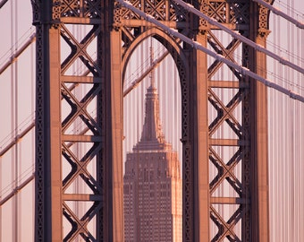 New York Photography - Empire State Building at Dawn, Manhattan Bridge,Urban Home Decor, Large Wall Art