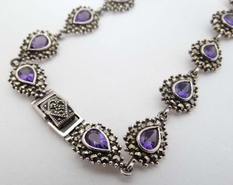 Vintage Silver Necklace of Amethyst and Marcasite