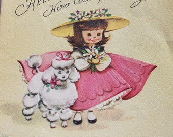 Vintage Cute Girl with White Poodle Card, USED 50s 1950s Used Cute Collectible Card, Scrap Booking Crafts