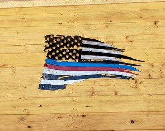 Thin blue and red line tattered flag
