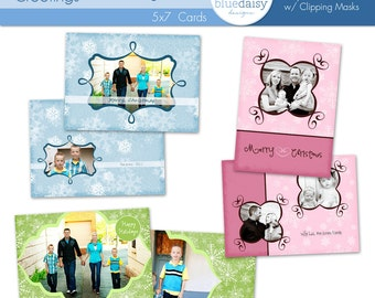 5x7 Snowflake Greetings Christmas Card Collection - Photographer Templates