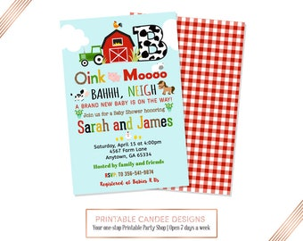 Marvelous Farm Baby Shower Invitation, Barnyard Baby Shower, Farm Theme, Country  Shower, DIY