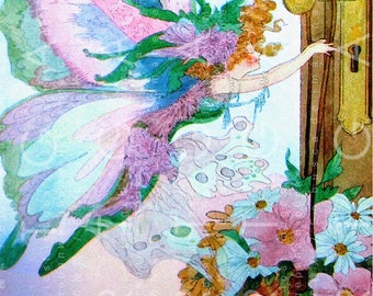 The MAY DAY FAIRY Vintage Illustration. Lovely Vintage Fairy Tale Art Print Mayday. May Day Digital Download.
