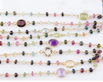 Tourmaline with Gemstone Beaded Wire Wrapped Vermeil Chain, Rosary Chain, Per Foot, Gemstone Chain, Wire Wrapped Chain, Beaded Chain,SCNF176