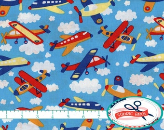 AIRPLANE Fabric by the Yard Fat Quarter Blue SKY & CLOUDS Fabric Jet Planes Fabric Baby Boy 100% Cotton Fabric Quilting Fabric Yardage t5-19