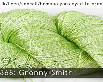 DtO 368: Granny Smith (an Arsenic Sister) on Silk/Linen/Seacell/Bamboo Yarn Custom Dyed-to-Order