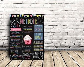 Chalkboard - personalized print for 1st birthday - cupcake