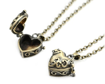 Bronze Heart Pill Box Necklace- Vintage Style Jewellery - Love Locket Charm -Prayer Box- Vintage Gold Chain Long Necklace - Gift Jewelry