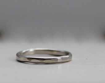 14k Gold Hammered Stackable Ring