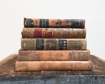 Antique Book Stack - Shabby Leather Bounds, Set of Five 18th and 19th Century Books, Vintage Home Decor