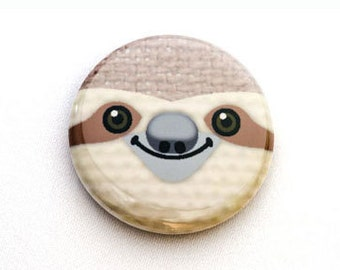 Sloth Face Pinback Button, Magnet, Zipper Pull, or Keychain