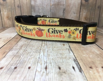 "The Give Thanks | Designer 1"" Width Dog Collar | CupcakePups Collars | Medium/Large Dog Collar"