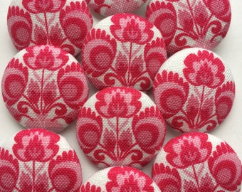 Tilda Folklore Pink / FlowerGarden Fabric covered handmade buttons - 10 pieces of 22 mm buttons